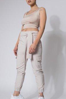 REST FACTORY - Spodnie typu cargo nude