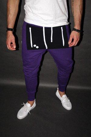 SPODNIE BUTTON POCKET PANTS UNISEX fioletowe długie spodnie dresowe