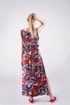 3 FOR U - Sukienka kopertowa długa wzór