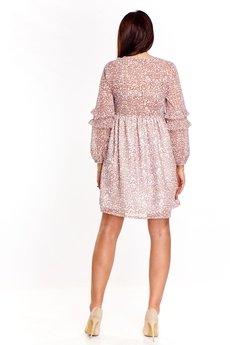 Bird - Wzorzysta sukienka z tiulowymi rękawami