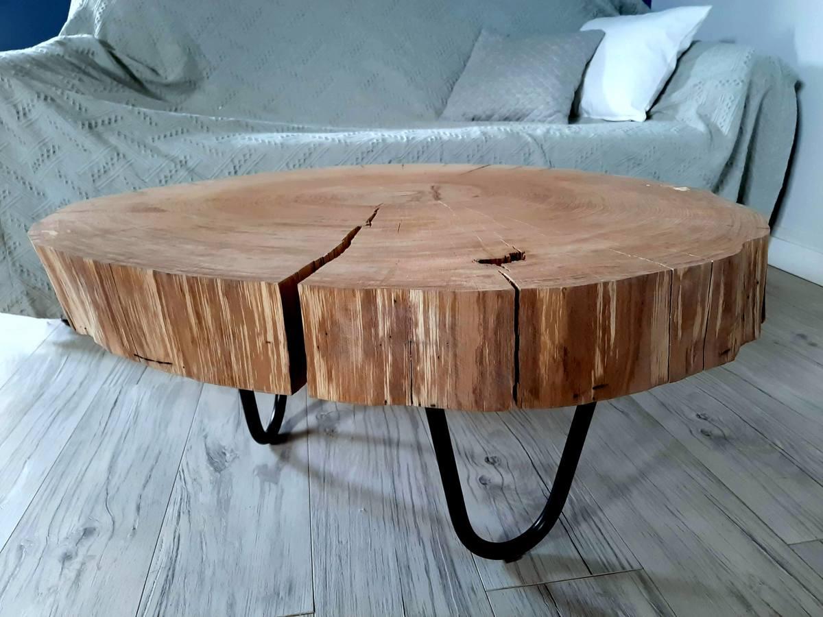 Stolik Kawowy Dębowy Z Plastra Drewna 2 Wiele Kolorów