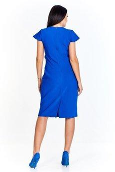 Bird - Wizytowa sukienka z efektowną falbaną i wyjątkowym drapowaniem z przodu