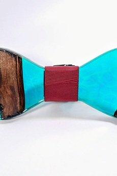 SZYJNICA - mj035 Muszka drewniana z żywicą handmade resin wood bowtie
