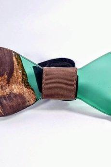 SZYJNICA - mj036 Muszka drewniana z żywicą handmade resin wood bowtie