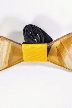 SZYJNICA - mj041 Muszka drewniana z żywicą handmade resin wood bowtie