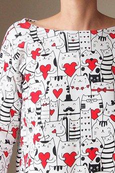 ONE MUG A DAY - Bluza pudełko tunika w zakochane koty