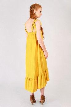 Non Tess - żółta sukienka z falbanką i wiązaniem