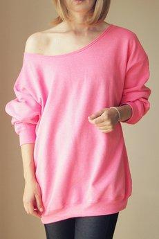 ONE MUG A DAY - Gruby Oversize Różowy Neon Melanż Z XL XXL