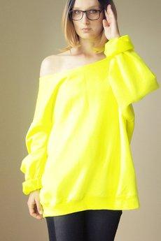 ONE MUG A DAY - Gruby Oversize Żółty Neon Melanż Z XL XXL