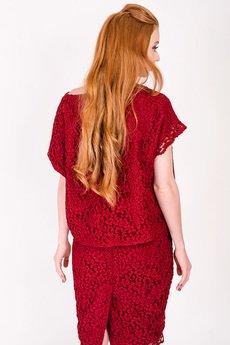 Non Tess - czerwona koronkowa bluzka