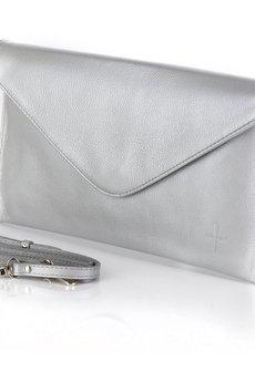 GAWOR - Klasyczna skórzana kopertówka popiel perłowy