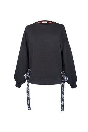 Czarna bluza damska z szerokimi taśmami