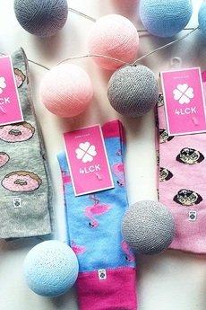 4LCK - 4LCK Kolorowe Skarpetki damskie w różowe Pączki