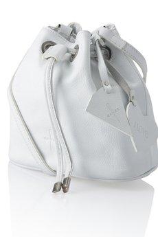 GAWOR - Biały skórzany woreczek długi pasek
