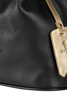 GAWOR - Czarny skórzany woreczek długi pasek złote dodatki