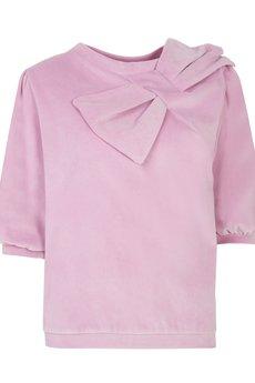 MATTE born in LA - Welurowa bluza z kokardą cukierkowy róż