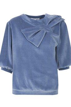 MATTE born in LA - Welurowa bluza z kokardą niebieski