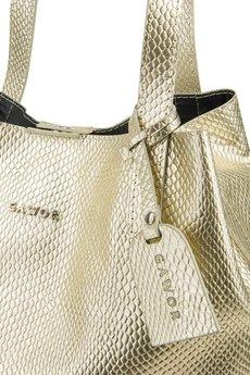 GAWOR - Skórzana torebka worek złota długie ucho