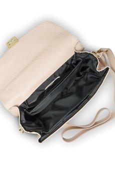 GAWOR - Różowy skórzany kuferek złote dodatki długi pasek