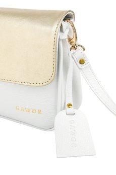 GAWOR - Biało-złota torebka mini skórzana