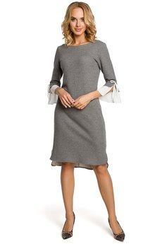 MOE - M327 Sukienka z warstwowymi rękawami  szara