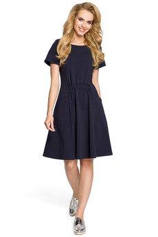 MOE - M316 Sukienka z kieszeniami i gumką w talii