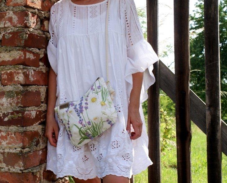 Mini Len Polne Kwiaty Biały | Manufakturamms | Torby I