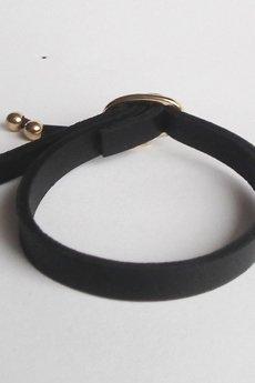 Mikashka - Bransoletka skórzana czarna MINI z klamerką