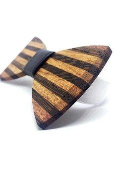 MARACHIC - Drewniana muszka ze spinkami do mankietów