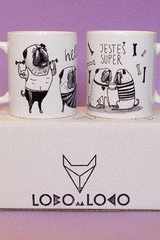 Lobo Loco - Komplet kubków z mopsami