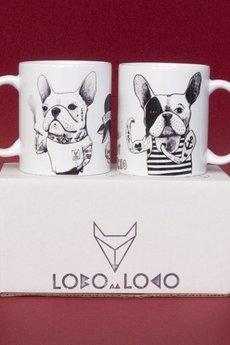 Lobo Loco - komplet 2  kubki z buldogami