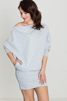 LENITIF - Sukienka K254 Szary