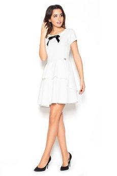 KATRUS - Sukienka K367 Ecru