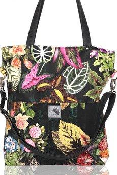 Karolina Audycka - Czarna torba w kwiaty z kieszeniami