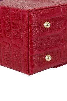 GAWOR - Skórzany elegancki kuferek złote dodatki