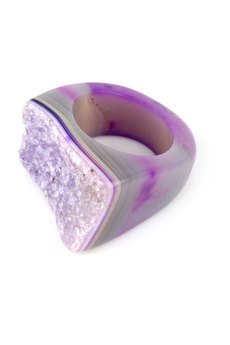Brazi Druse Jewelry - InspiRING Agat Druza Purpurowa rozmiar 14