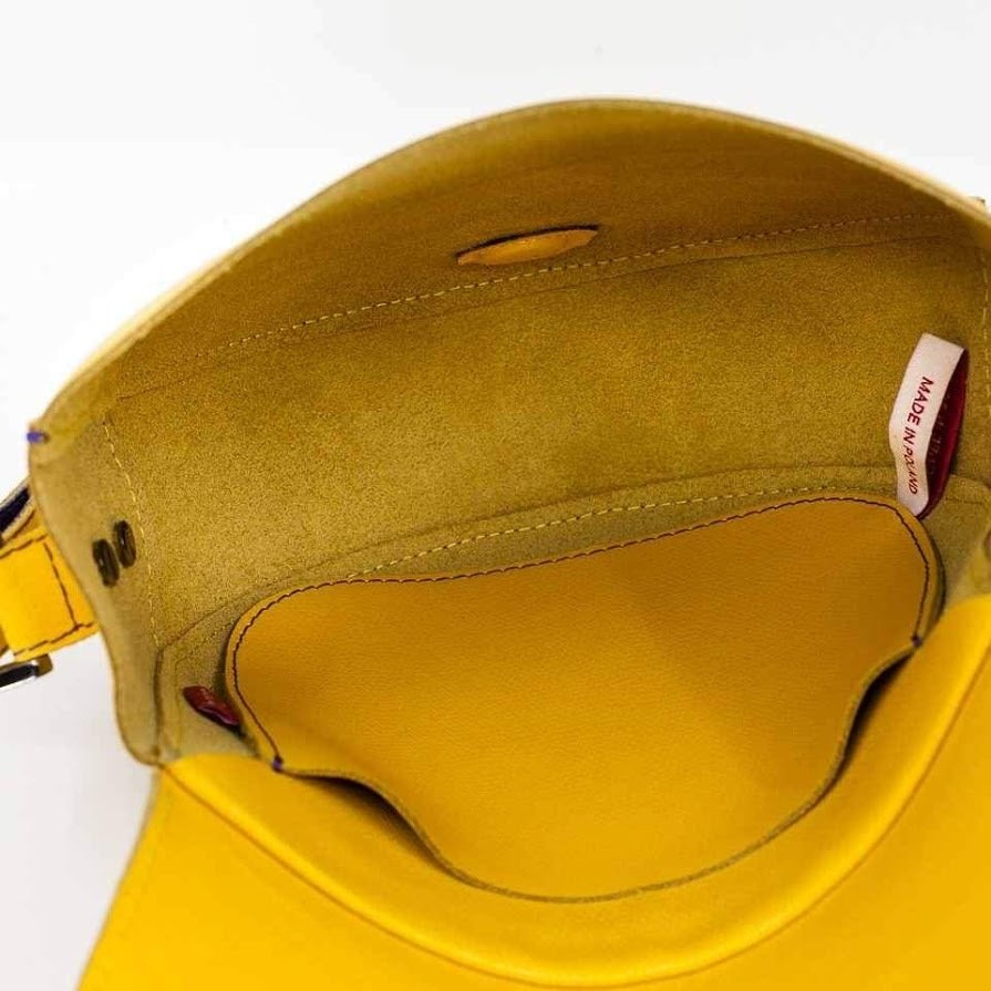 Torebka skórzana, żółta, Gaia 1, marki Bolsa