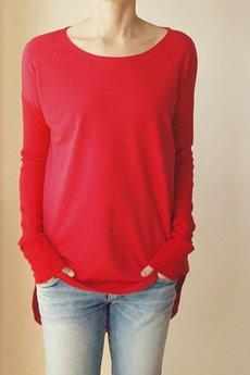 ONE MUG A DAY - Bluza tunika asymetryczna Frak okrągły Czerwona