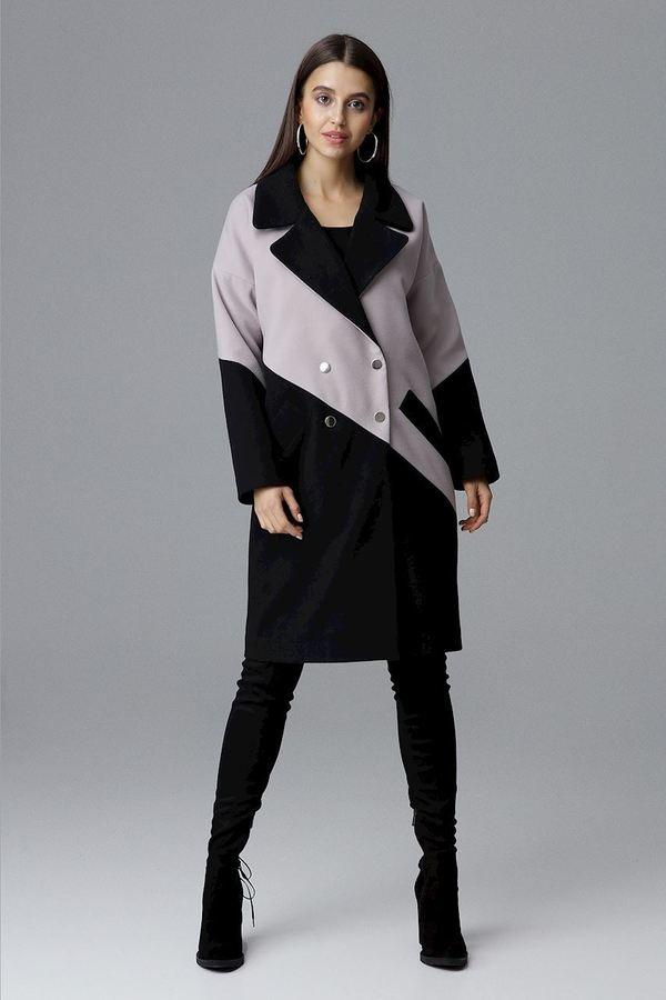 Płaszcz M626 Czarny Beż Czarny | Figl | Płaszcze Damskie