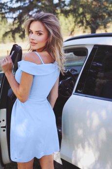 Bien Fashion - Błekitna sukienka wizytowa asymetryczna