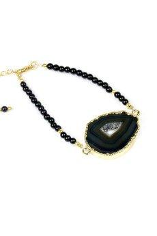 Brazi Druse Jewelry - Bransoletka Agat i Turmalin złoto