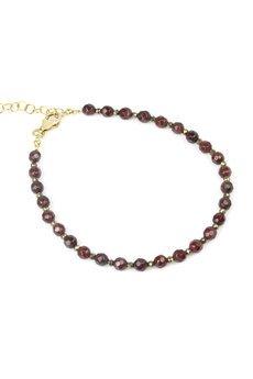 Brazi Druse Jewelry - Bransoletka Granat i Piryt złoto