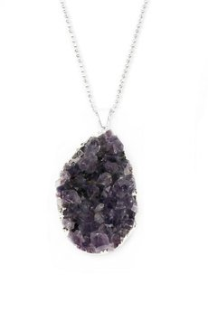 Brazi Druse Jewelry - Colare Ametyst Druza Lawendowa srebro
