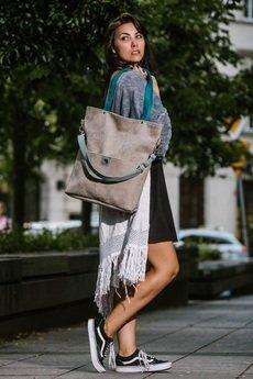 Karolina Audycka - Duża szara zamszowa torba turkusowe miętowe paski