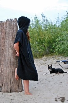 VADA - bawełniane ponczo plażowe / surf  JUNGLE KARBON