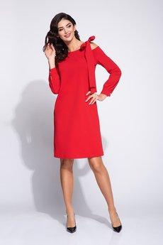 Bien Fashion - Wizytowa sukienka pudełkowa z kokardą