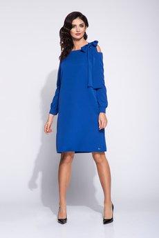 Bien Fashion - Elegancka sukienka pudełkowa z wcięciem w rękawie