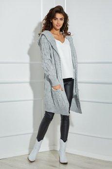Ooh la la - Długi sweter Ooh la la z kapturem w szarym odcieni