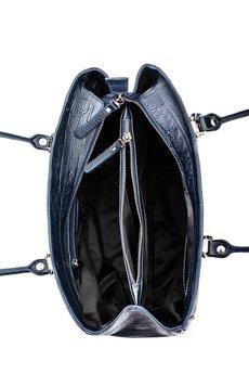 GAWOR - Skórzana granatowa torebka biznesowa Gianna