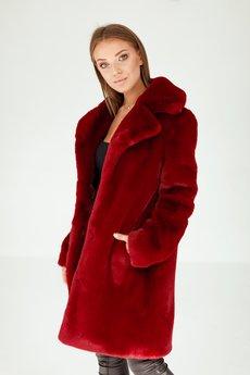 SMOKE - Płaszcz ze sztucznego futerka - dyplomatka bordo